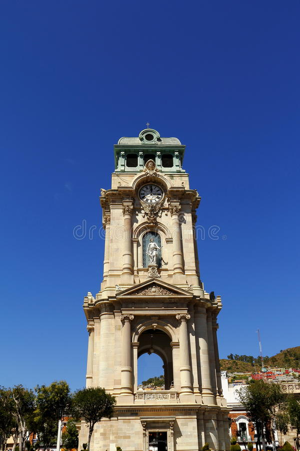 Monumental clock I. Monumental clock as symbol of the city of pachuca, capital city of the mexican state of hidalgo royalty free stock image
