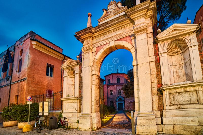Monumental entry in Ravenna stock photography