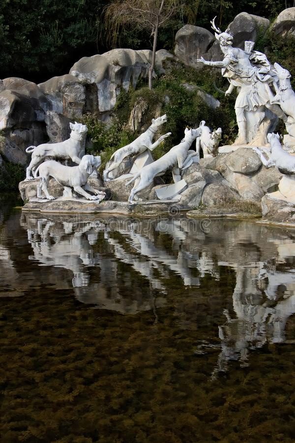 Reggia di Caserta, Italy. 10/27/2018. Monumental fountain with sculptures in white marble stock image