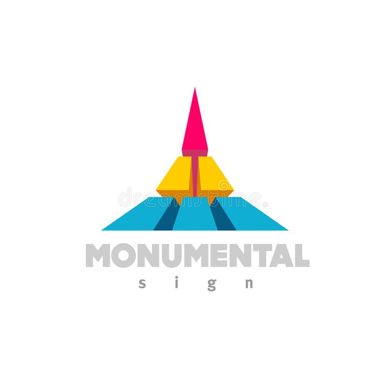 Monumental logo. Colorful 3D building flat color style sign. vector illustration