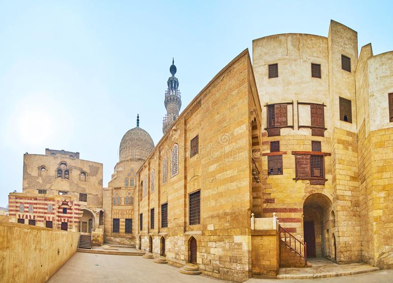 The buildings of Amir Khayrbak Funerary Complex, Cairo, Egypt. The monumental medieval complex of Amir Khayrbak is one of the notable landmarks of Ottoman Period stock photo
