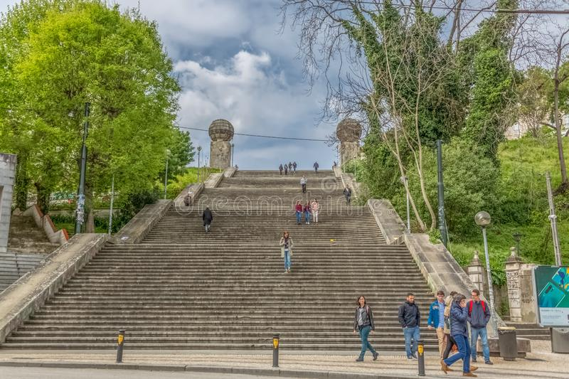 Monumental stairway view , symbolic iconic of the university city of Coimbra. Coimbra / Portugal - 04 04 2019 : Monumental stairway view escadas monumentais de stock image