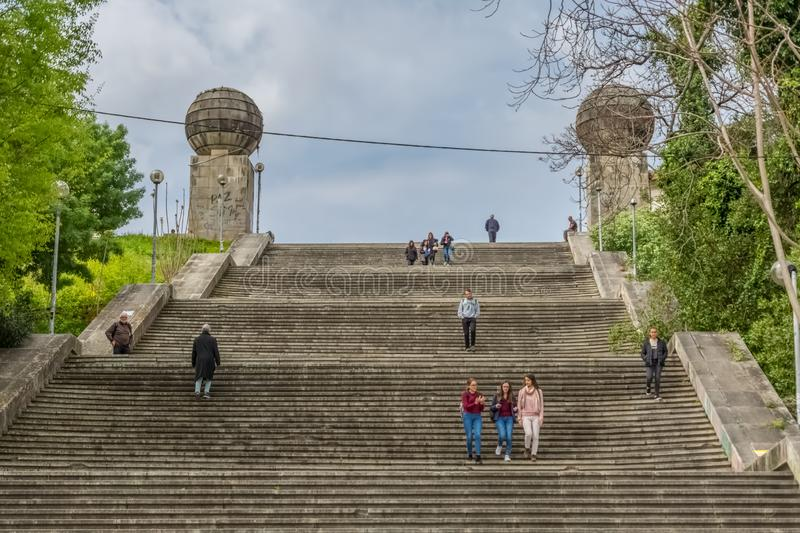 Monumental stairway view , symbolic iconic of the university city of Coimbra. Coimbra / Portugal - 04 04 2019 : Monumental stairway view escadas monumentais de royalty free stock photography