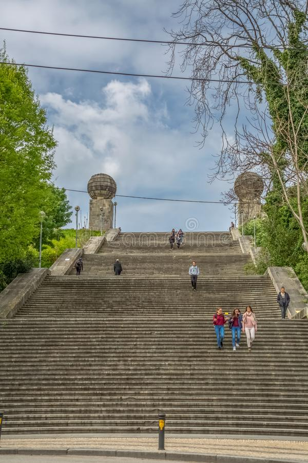 Monumental stairway view , symbolic iconic of the university city of Coimbra. Coimbra / Portugal - 04 04 2019 : Monumental stairway view escadas monumentais de royalty free stock image