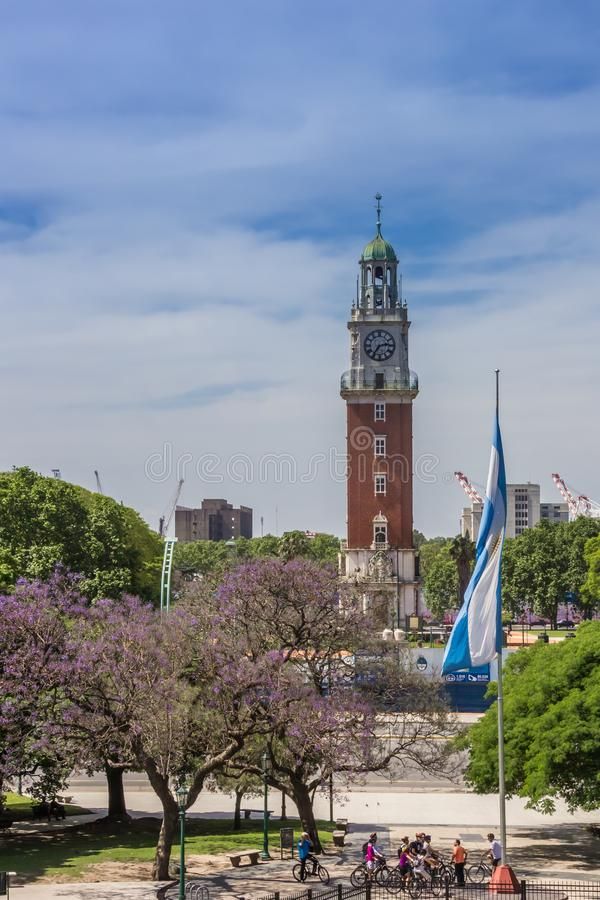 Monumental Tower in a park in Buenos Aires royalty free stock photo