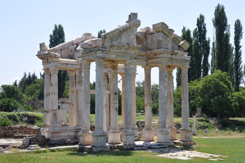Monumentale Gateway of Tetrapylon, Aphrodisias royalty-vrije stock foto