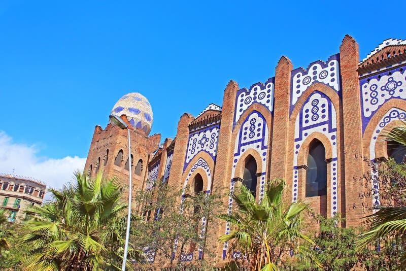 Monumentale het plein is een arena in een stad van Barcelona, Spanje stock afbeeldingen