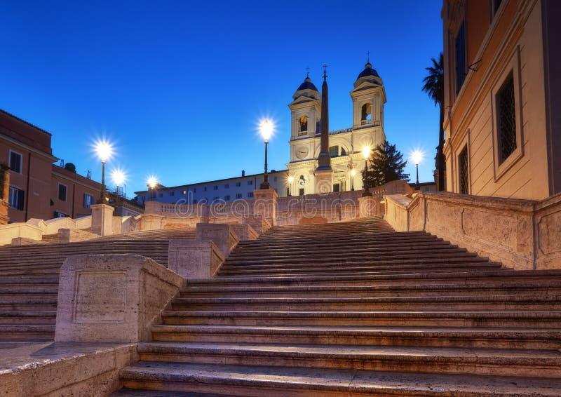 Monumentalni schody hiszpańszczyzn kroki i i Trinita dei Monti Chu obrazy stock