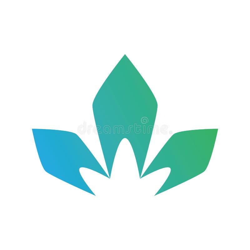Monumentblommalutning Logo Vector royaltyfri illustrationer