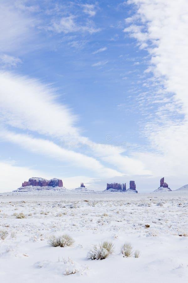 Monumentdalnationalpark i vinter, Utah-Arizona, USA arkivbilder