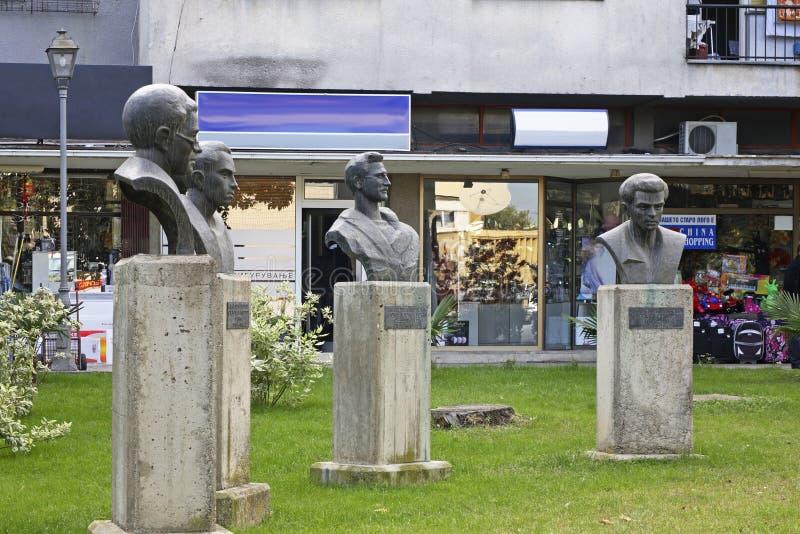 Monumente von Nationalhelden in Gevgelija macedonia stockfoto