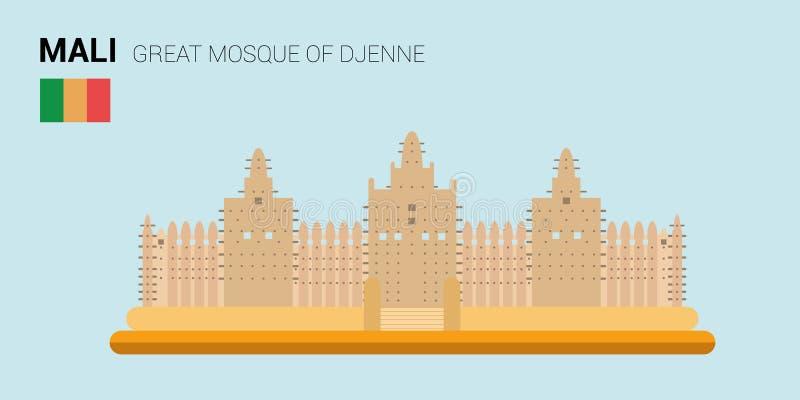 Monumenten en oriëntatiepunten Vectorinzameling: Grote Moskee van Djenne royalty-vrije illustratie