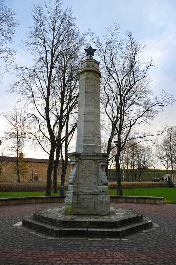 Monumenten gevallen Sovjetmilitairen in Narva stock foto's