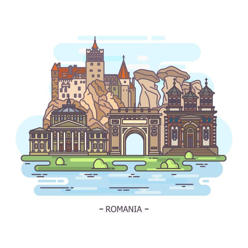 Monumenten of het oriëntatiepuntgebouwen van Roemenië royalty-vrije illustratie