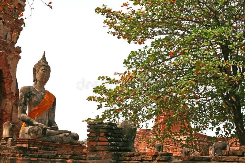 Monumenten van buddah, ruïnes van Ayutthaya stock afbeelding