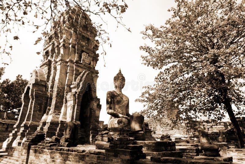 Monumenten van buddah, ruïnes van Ayutthaya stock afbeeldingen