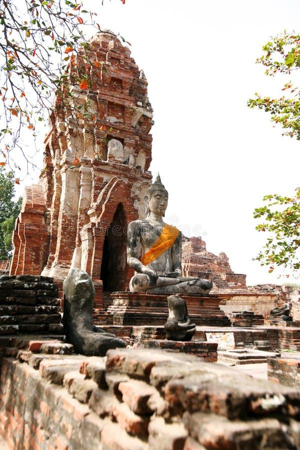 Monumenten van buddah, ruïnes van Ayutthaya stock foto