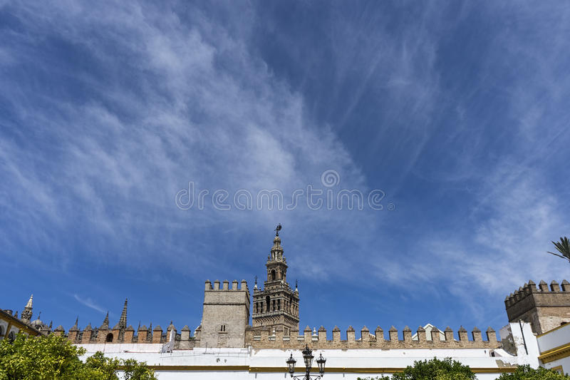 Monumenten van Sevilla, La Giralda stock afbeelding