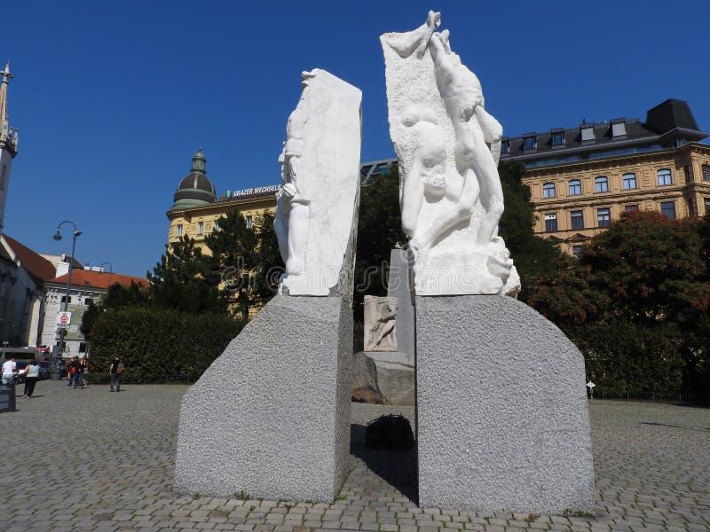 Monumenten van Wenen, Oostenrijk, een duidelijke Zonnige dag stock afbeelding