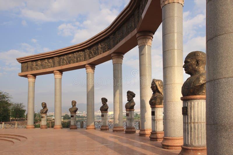 Monumentet i den Khujand staden, Tadzjikistan fotografering för bildbyråer