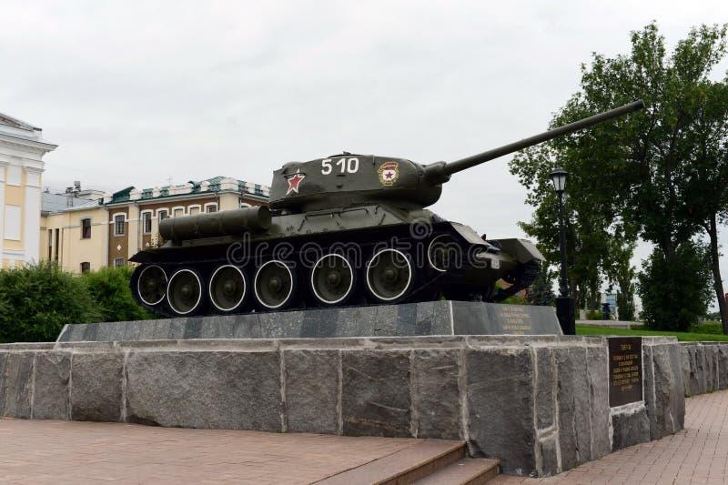 Monumentet till behållaren T-34 i den Nizhny Novgorod Kreml royaltyfri fotografi