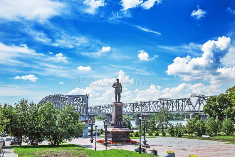 Monumentet till den ryska kejsaren Alexander III på invallningen royaltyfri fotografi