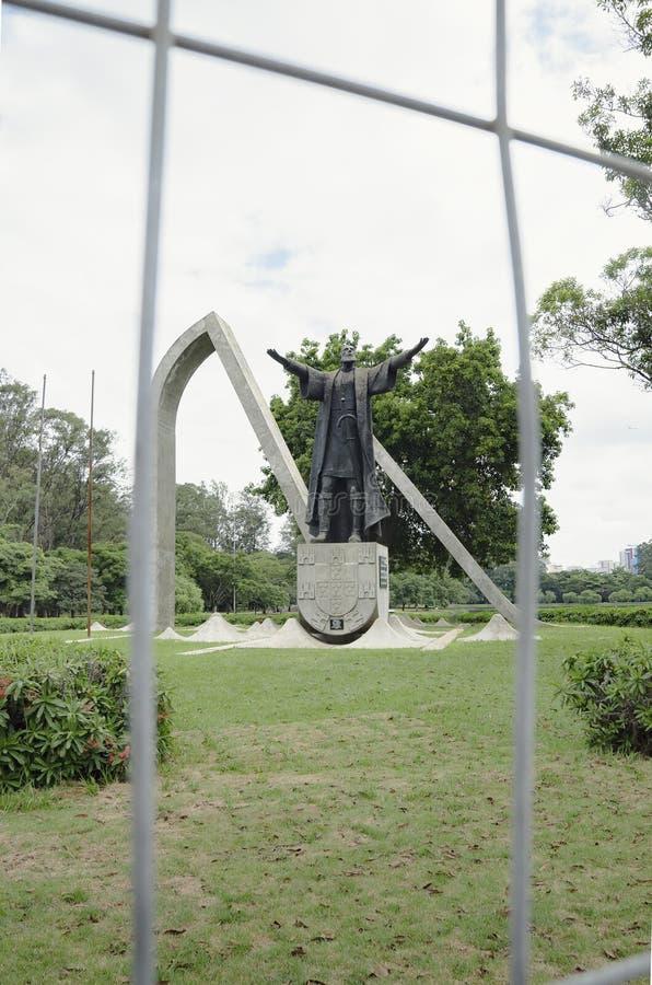 Monumentet till Pedro Alvares Cabral, Ibirapuera parkerar arkivbilder