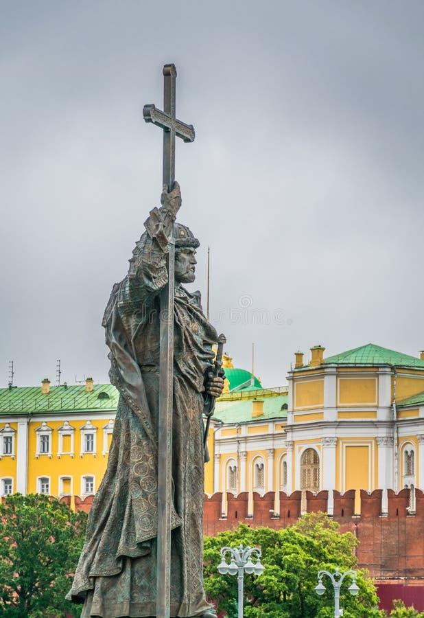 Monumentet till prinsen Vladimir i Moskva, Ryssland arkivfoto
