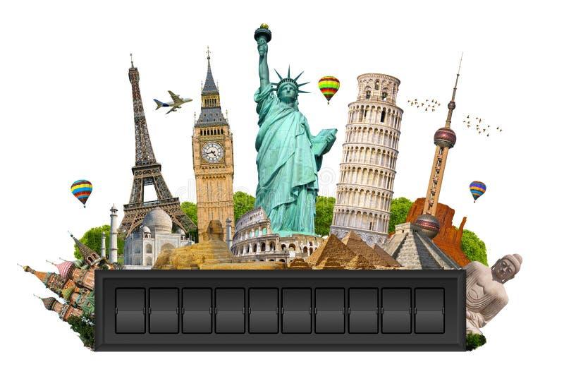 Monumenti del mondo su un pannello del tabellone per le affissioni dell'aeroporto royalty illustrazione gratis