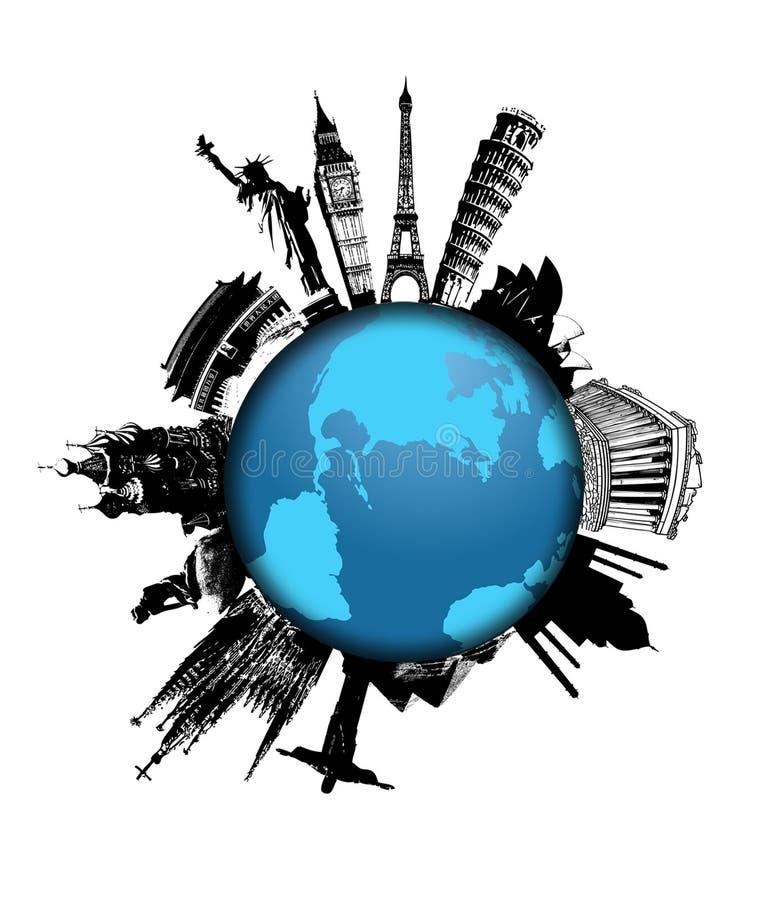 Monumenti del mondo sul globo illustrazione di stock
