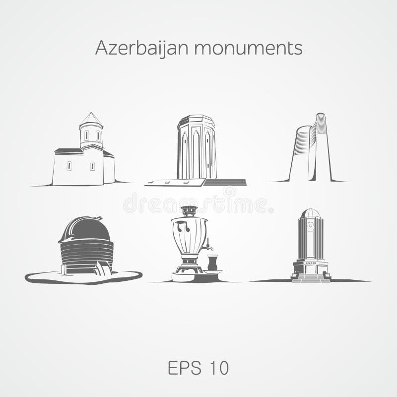 Monumenti dell'Azerbaigian illustrazione vettoriale