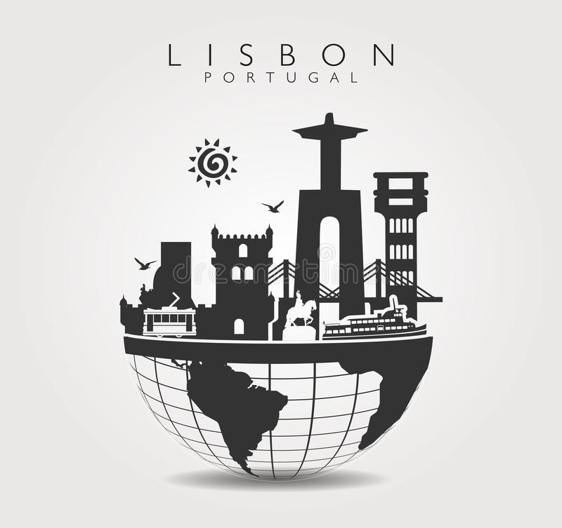 Monumenti di viaggio a Lisbona in cima al mondo illustrazione vettoriale
