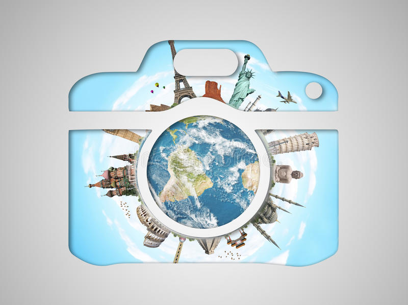 Monumenti famosi del mondo in un'icona della macchina fotografica royalty illustrazione gratis
