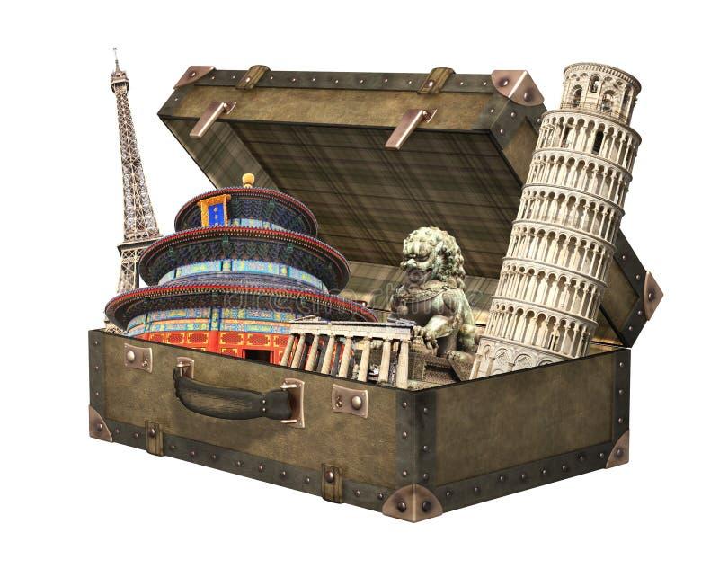 Monumenti famosi del mondo in valigia d'annata immagine stock libera da diritti