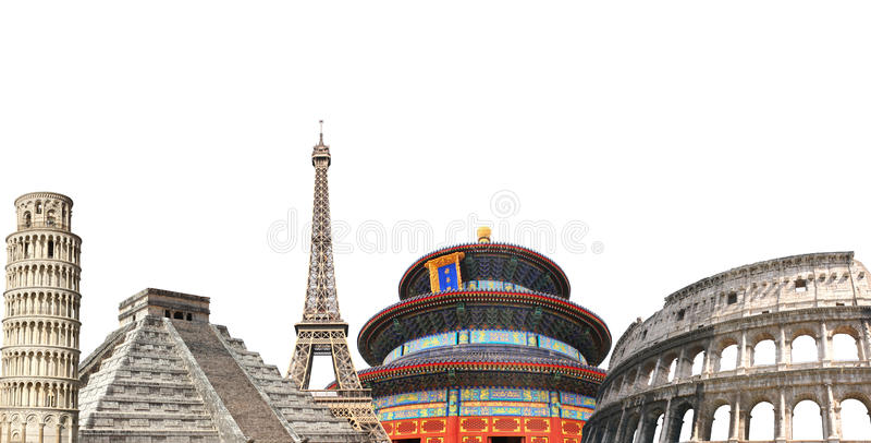 Monumenti famosi dell'Europa, dell'Asia e dell'America immagine stock libera da diritti