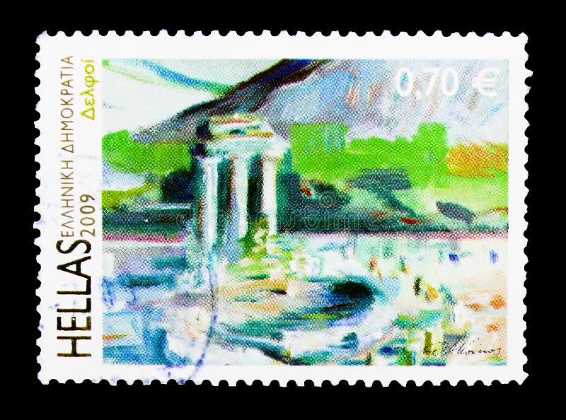 Monumenti greci - Oracle a Delfi, eredità culturale del mondo fotografia stock