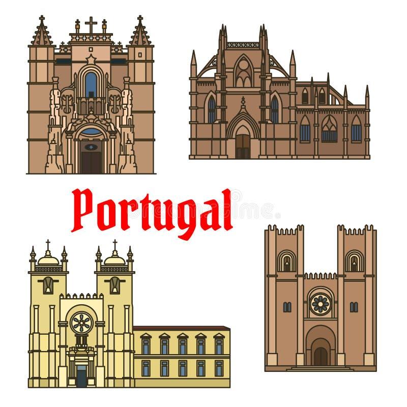 Monumenti storici e sightseeings del Portogallo illustrazione di stock