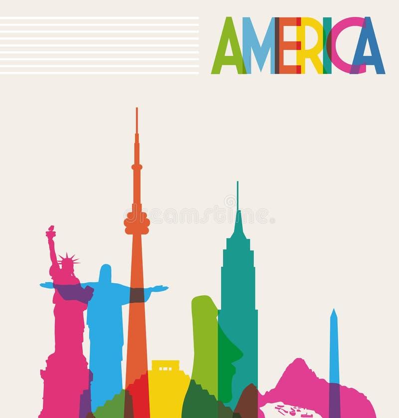 Monumentkontur av Amerika royaltyfri illustrationer
