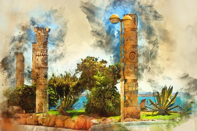 Monumento às culturas mediterrâneas, Torrevieja ilustração royalty free