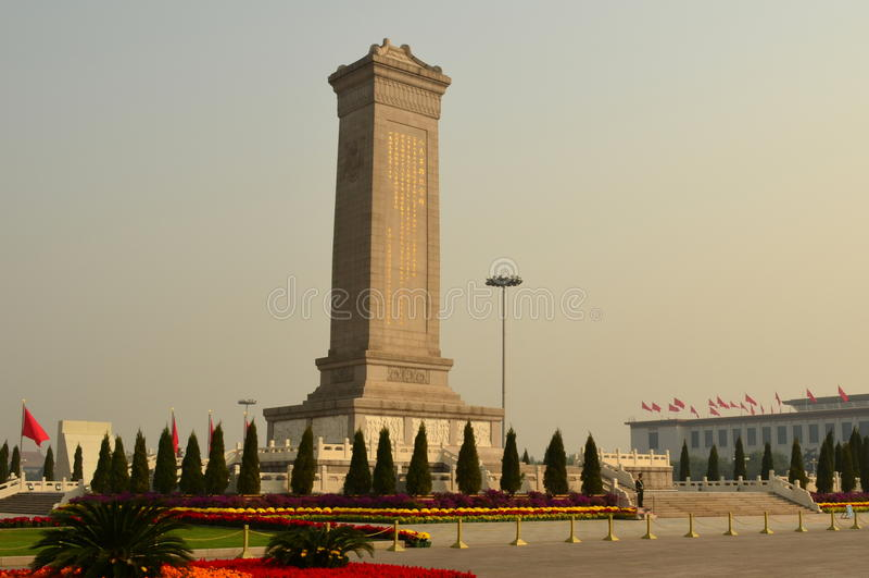 Monumento agli eroi della gente, piazza Tiananmen fotografia stock libera da diritti