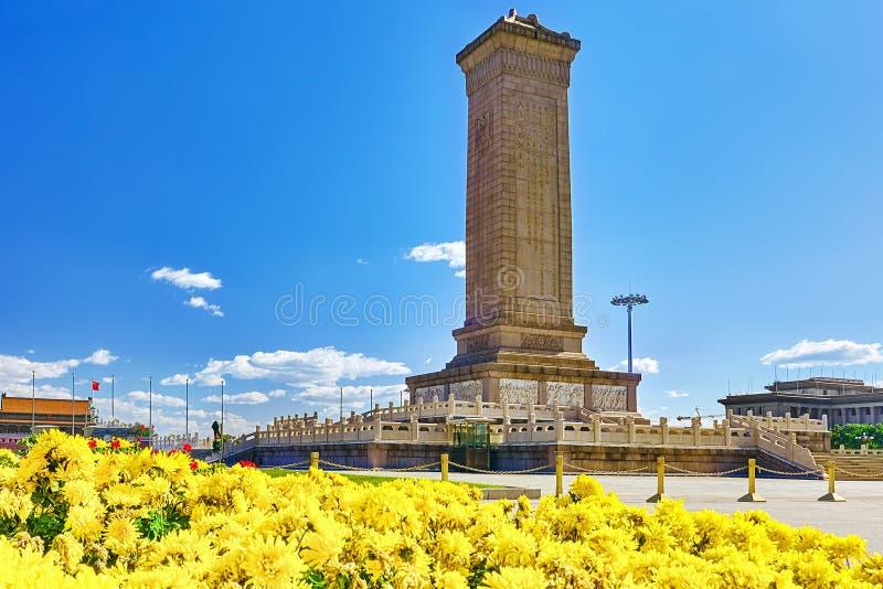 Monumento agli eroi della gente sul quadrato di Tian'anmen - il terzo immagine stock