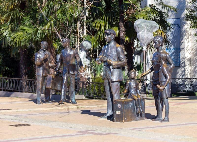 Monumento agli eroi di commedia Diamond Arm Sochi, Russia immagine stock