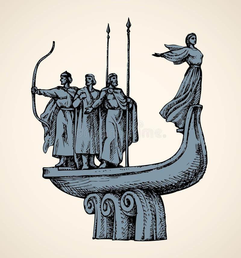 Monumento ai fondatori di Kiev Schizzo di vettore illustrazione di stock