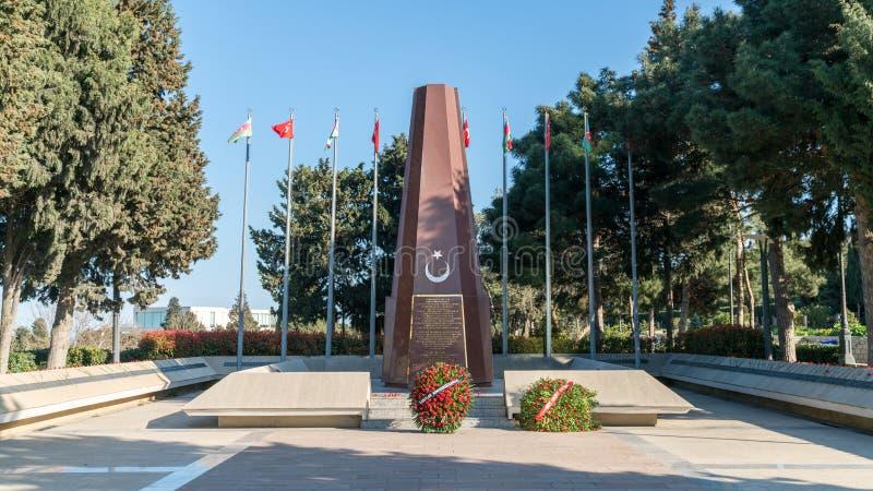 Monumento ai soldati turchi, soldati dell'esercito islamico caucasico, Bacu, Azerbaigian immagine stock libera da diritti