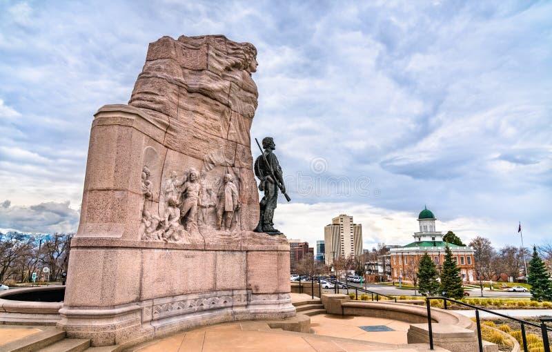 Monumento al battaglione Mormon a Salt Lake City, Stati Uniti fotografia stock libera da diritti