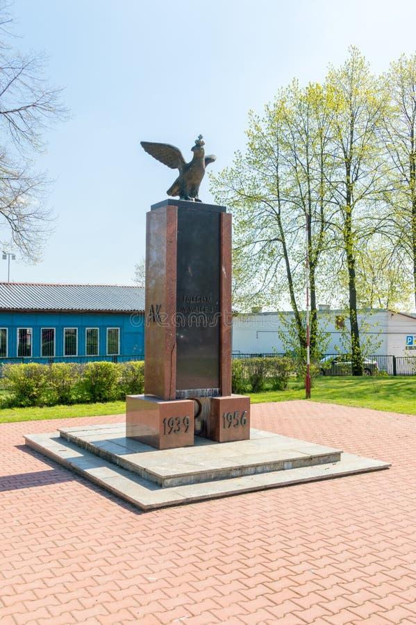 Monumento al caido en la batalla y asesinado del ejército casero polaco y libertad e independencia 1939-1956 imagen de archivo