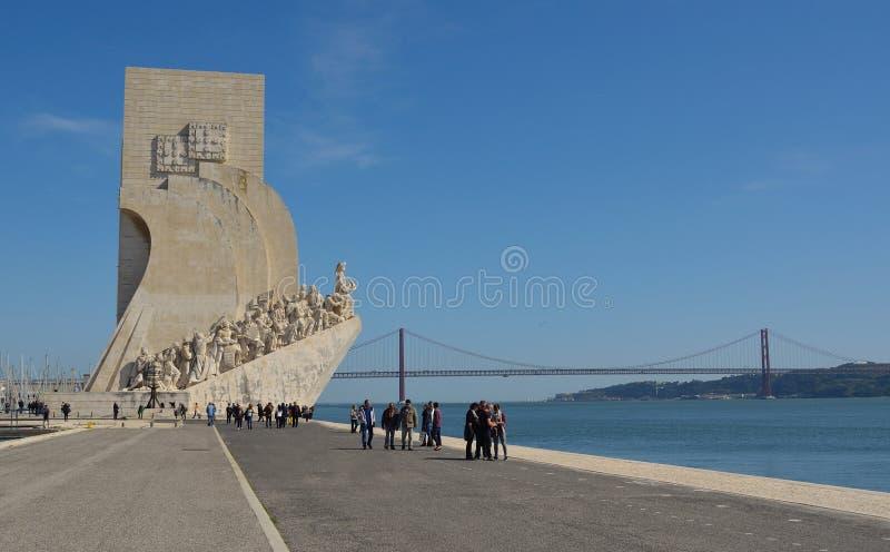 Monumento al distrito Lisboa Portugal de Belem de los descubrimientos foto de archivo