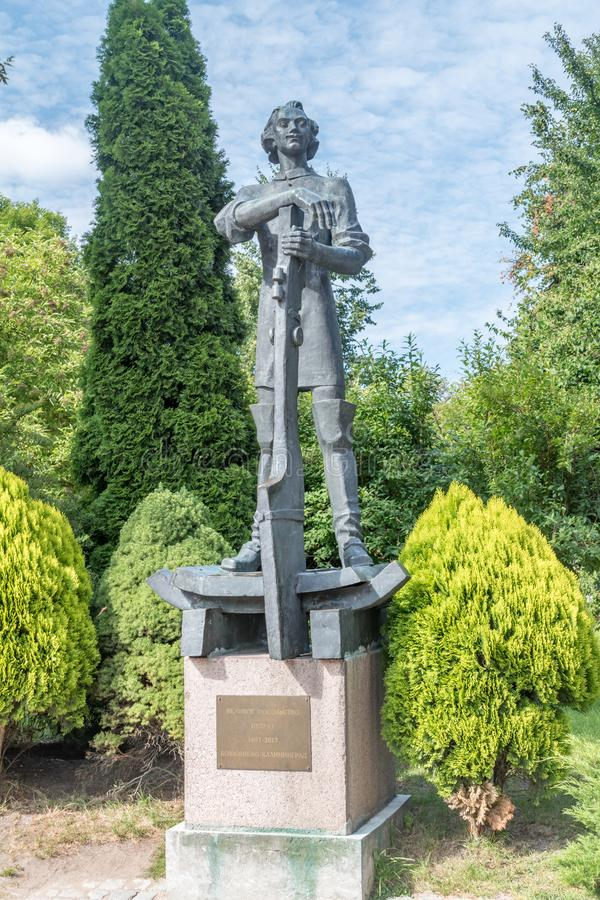 Monumento al emperador ruso Pedro el Grande conocido también como Pedro I Monumento a Kaliningrado (Federación de Rusia) foto de archivo libre de regalías