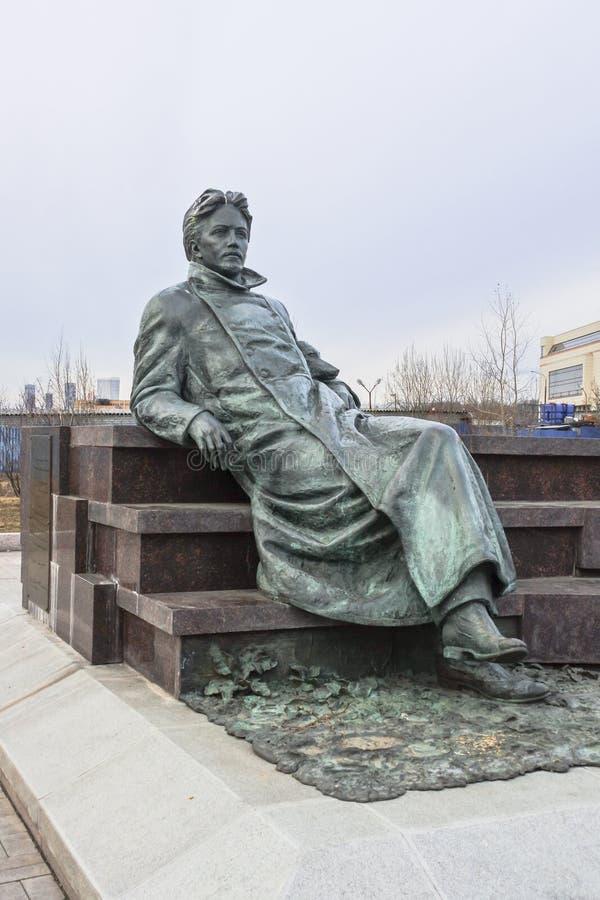 Monumento al escritor ruso Anton Chekhov delante de la investigación médica y del centro educativo de la universidad de estado de fotografía de archivo libre de regalías