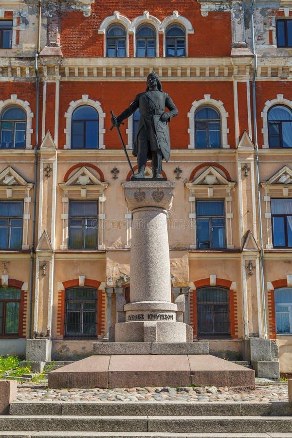 Monumento al fundador de Vyborg imagenes de archivo